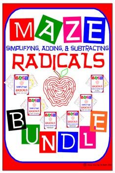 Maze - BUNDLE Radicals - Simplifying, Adding, & Subtracting Radicals