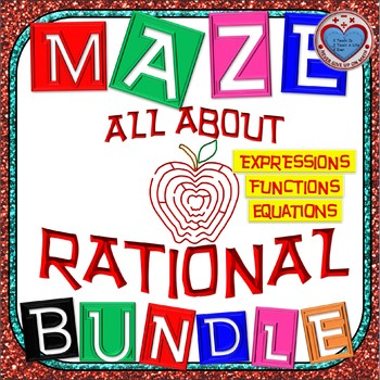 Maze - BUNDLE Rational Functions 50%+ OFF (28 Mazes = 349 Questions)