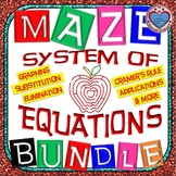 Maze - BUNDLE Solve System of Equations - Graph, Substitute, Eliminate, & Apps