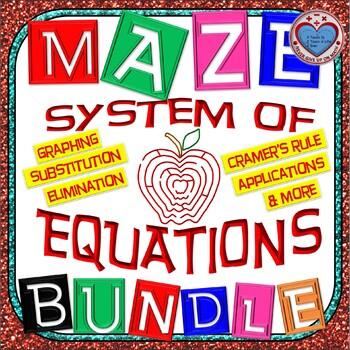 Maze - BUNDLE Solve System of Equations - Graph, Substitute, Eliminate, & Apps