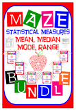 Maze - BUNDLE Statistical Measures (Mean, Median, Mode, & Range)