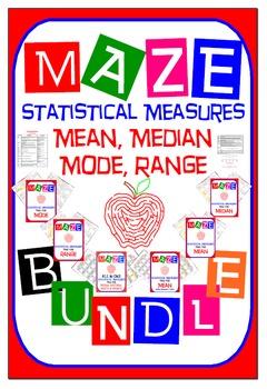 Maze - BUNDLE Statistical Measures (Mean, Median, Mode, & Range)