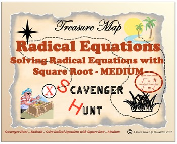 Scavenger Hunt {School/Home/Stations} - Solve Square Root Equation - MEDIUM