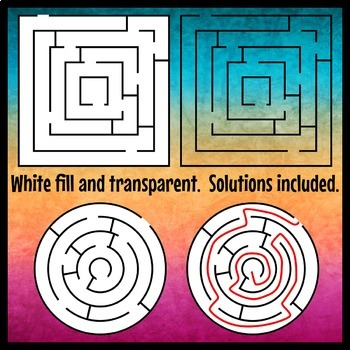 2D Shapes Maze Clip Art Set 1