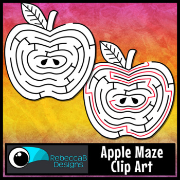 Maze Clip Art FREE: Apple Maze with Solution, Back to School Maze