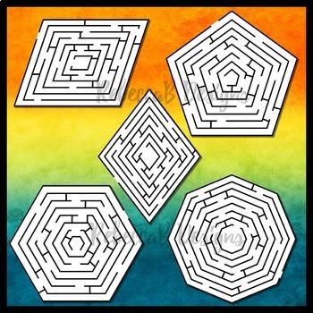 2D Shapes Maze Clip Art Set 2