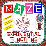 Maze - Domain, Range, Asymptote, & y-intercept of Exponential Function (V1 & V2)