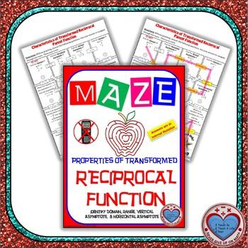 Maze - Domain, Range, & Asymptotes of Reciprocal Parent Function