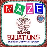 Maze - Equations - Solving One Step Equation - using Division
