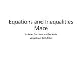 Maze -Equations and Inequalities with Variables on Both Sides (Rational Numbers)