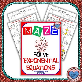 Maze - Exponential Functions -  Solving Exp Fxns using Common Base - Easy Level
