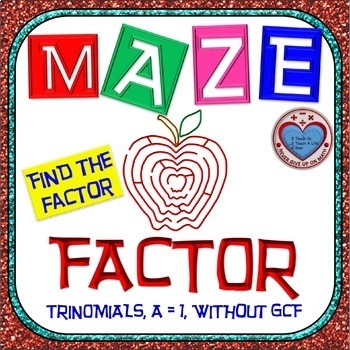 "Maze - Factoring - Factor Trinomials where ""a"" is 1 (NO GCF) - Challenging"