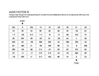 Maze Factors! Multiplication of 2's