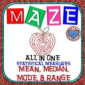 Maze - Find Mean, Median, Mode, & Range