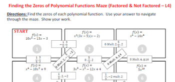 Maze - Find the Zeros of a Polynomial Functions (Level 4)