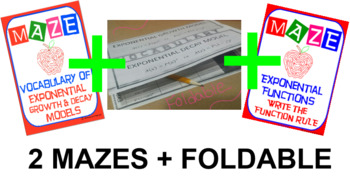 2 Mazes & Foldable - Exponential Functions: Growth/Decay Factor, Rate, Formula