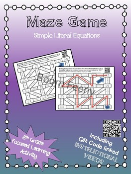 Maze Game Simple Literal Equations