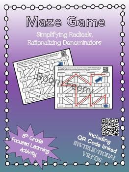 Maze Game Simplifying Radicals and Rationalizing Denominators