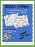 Maze Game- Solving Equations with Unknown Variables