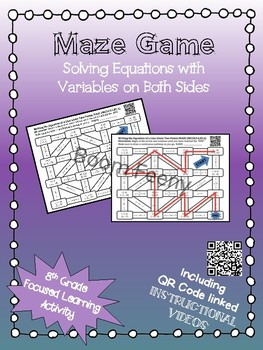 Maze Game Solving Equations with Variables on Both Sides