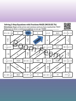 Maze Game Two Step Equations With Fractions