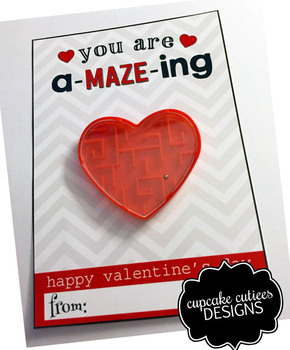 Maze Game  Valentine Card Favor Hand out Classroom Party Favor Printable