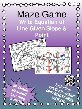 Maze Game Writing Linear Equations Given a Point and a Slope