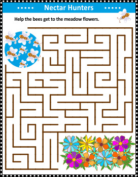 Maze Game with Bees and Flowers, Commercial Use Allowed
