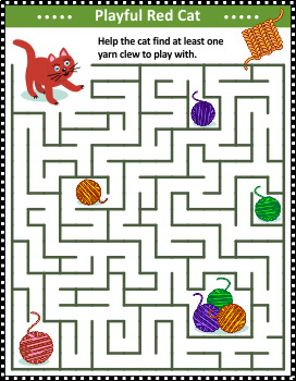 Maze Game with Cat and Yarn Balls, Commercial Use Allowed