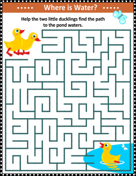 Maze Game with Ducklings and Pond, Commercial Use Allowed