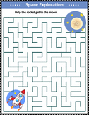 Maze Game with Rocket and Moon, Commercial Use Allowed