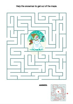 Maze Game with Snowman, Commercial Use Allowed