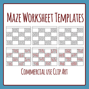 Maze Horizontal Worksheet Templates Clip Art Set for Commercial Use