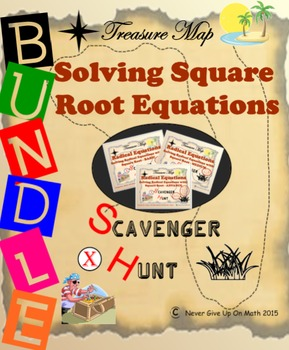 Scavenger Hunt {School/Home/Stations} - BUNDLE Solve Square Root Equation