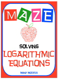 Maze - Logarithmic Functions-  Solving Log Equations - Many Models