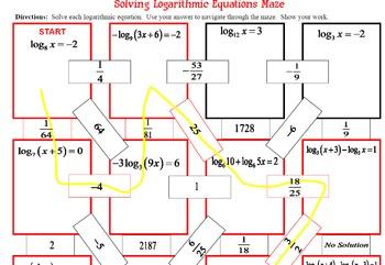 Maze - Logarithmic Functions-  Solving Log Equations - Many Models