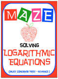 Maze - Logarithmic Functions-  Solving Log Fxns - Must Condense - Advance