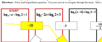 Maze - Logarithmic Functions-  Solving Log Fxns - Must Condense - Simple