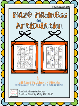 Maze Madness for Articulation - L (initial/medial/final/blends) - 24 mazes!