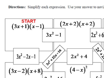 Maze - Operations on Polynomials - FOIL (Simple)