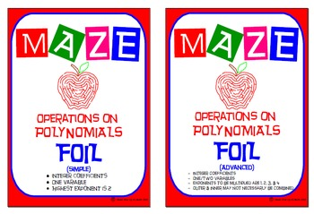 Maze - Operations on Polynomials: Multiplying Binomials FOIL (Simple & Advanced)
