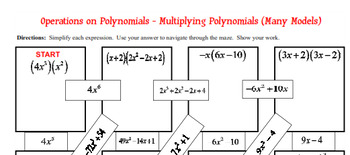 Maze - Operations on Polynomials-Multiply Poly (Monomial, Binomial, & Trinomial)