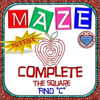 "FREEBIE - Maze - Quadratic Functions - Complete the Square Missing ""c"""
