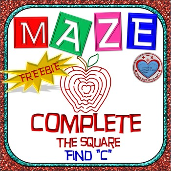 FREEBIE - Maze - Quadratic Functions - Complete the Square