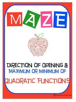 Maze - Quadratic Functions - Direction of opening, Maximum