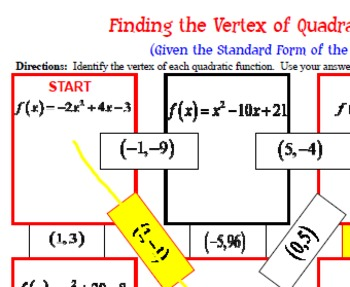 Maze - Quadratic Functions - Find the Vertex (Given the Standard Form of QF)