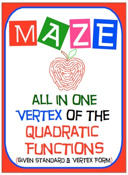 Maze - Quadratic Functions - Find the Vertex (Given the Vertex & Standard Form)