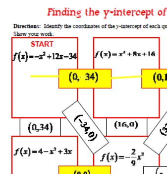 Maze - Quadratic Functions - Find the y-intercept of QF in Standard Form