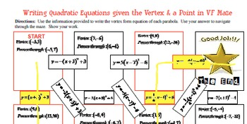 Maze - Quadratic Functions - Writing Quad Function given vertex & pt (VF)