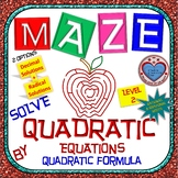 Maze - Quadratic Functions - Solve Quad Equ using Quadratic Formula - Level 1